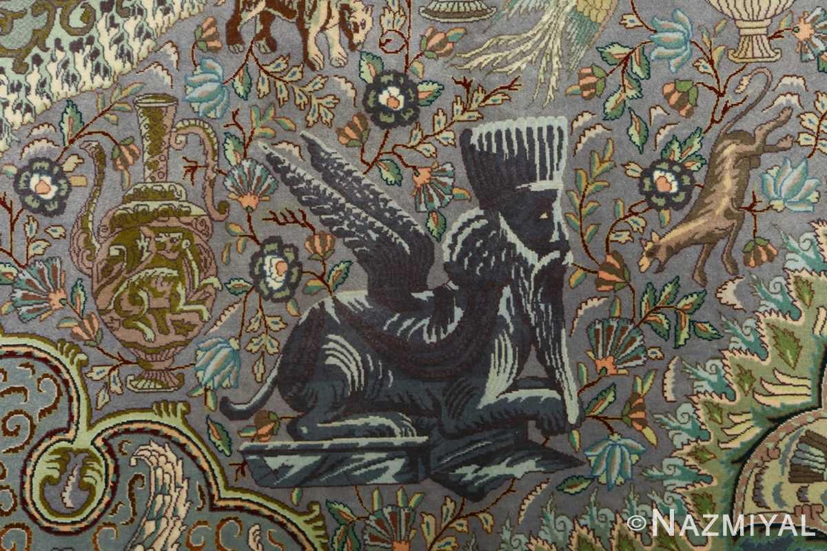 vintage pictorial tabriz persian rug 51105 gaurd Nazmiyal