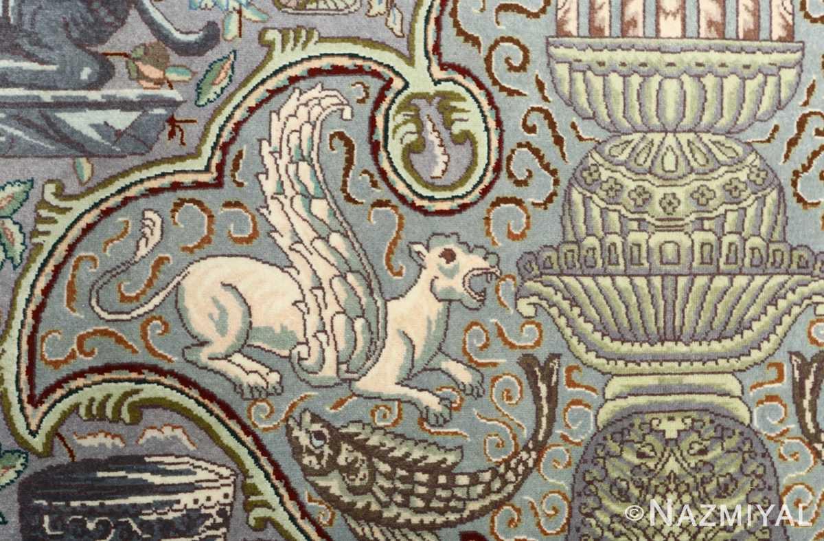 vintage pictorial tabriz persian rug 51105 lion Nazmiyal