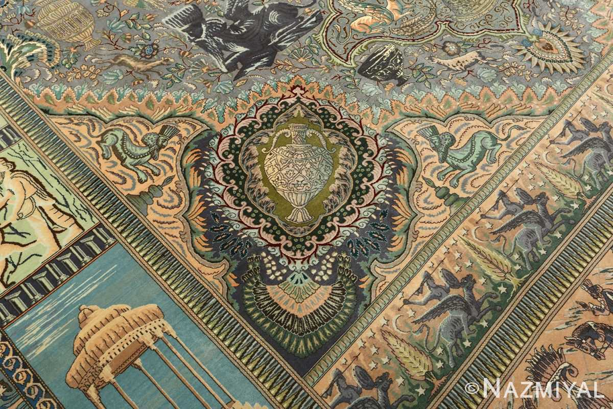 vintage pictorial tabriz persian rug 51105 pattern Nazmiyal