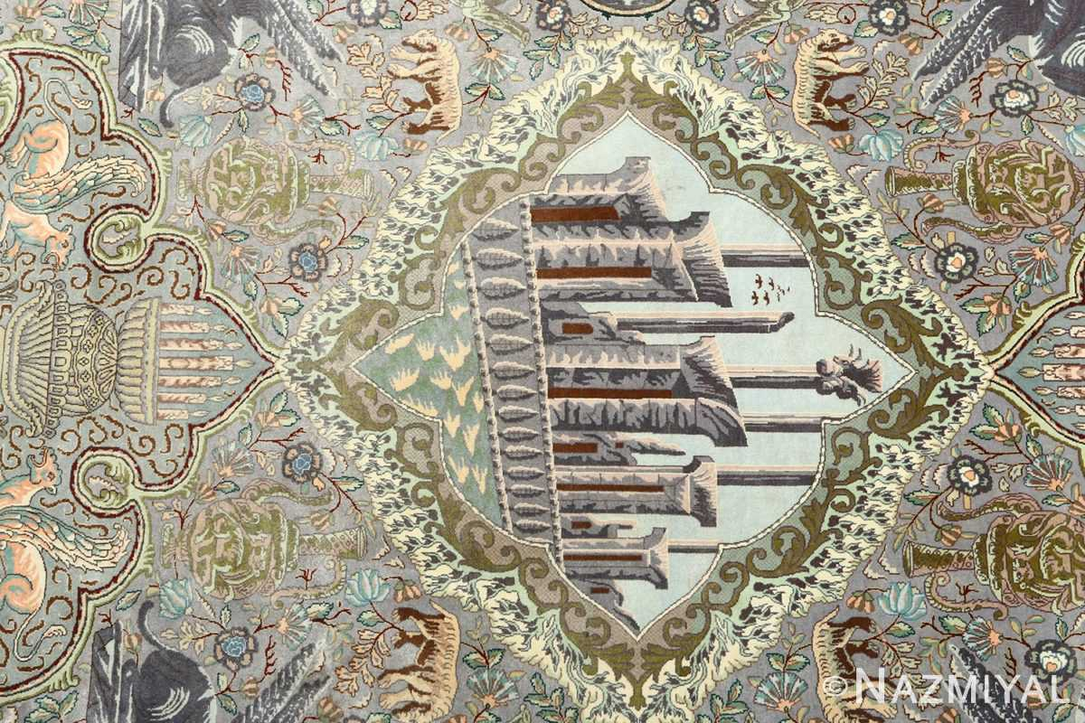 vintage pictorial tabriz persian rug 51105 persepolis Nazmiyal