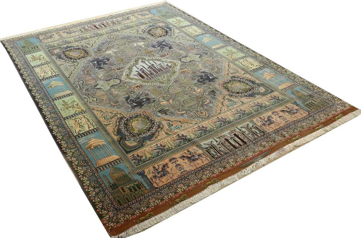 vintage pictorial tabriz persian rug 51105 side Nazmiyal