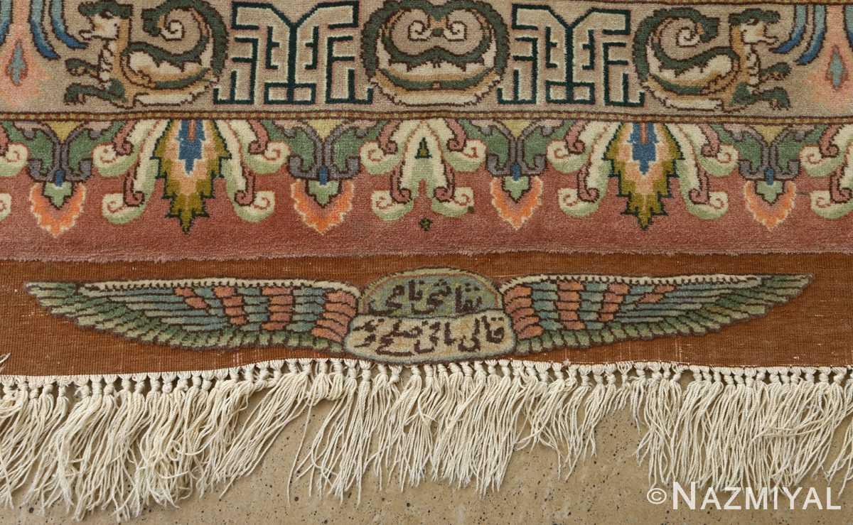 vintage pictorial tabriz persian rug 51105 signature Nazmiyal
