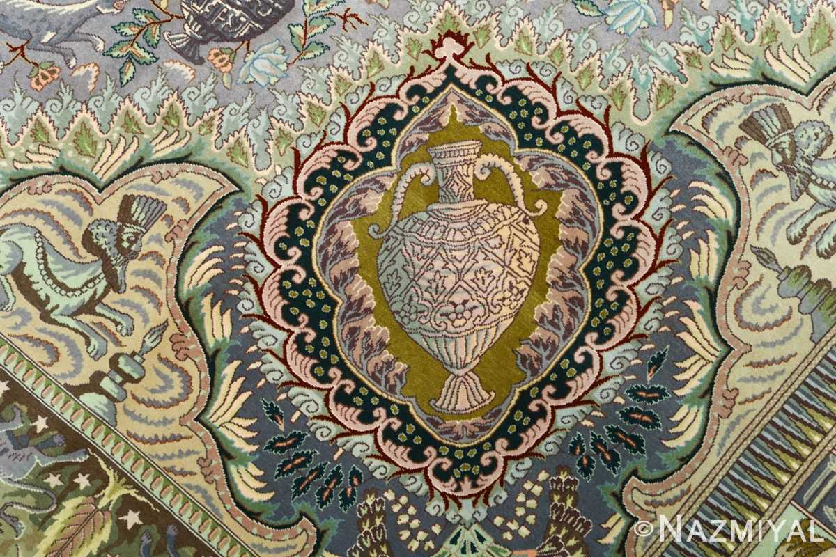 vintage pictorial tabriz persian rug 51105 vase Nazmiyal