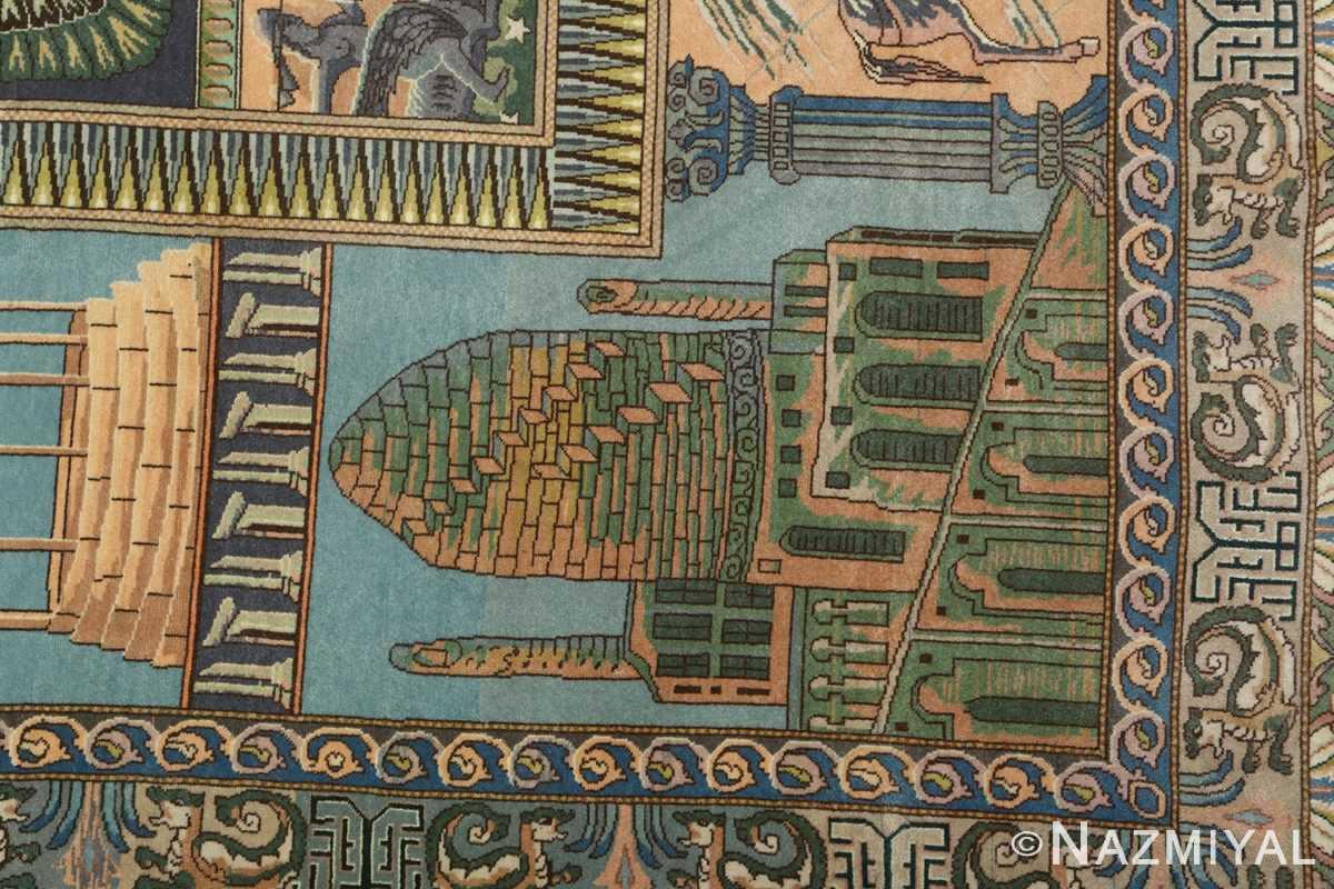 vintage pictorial tabriz persian rug 51105 zygorat Nazmiyal