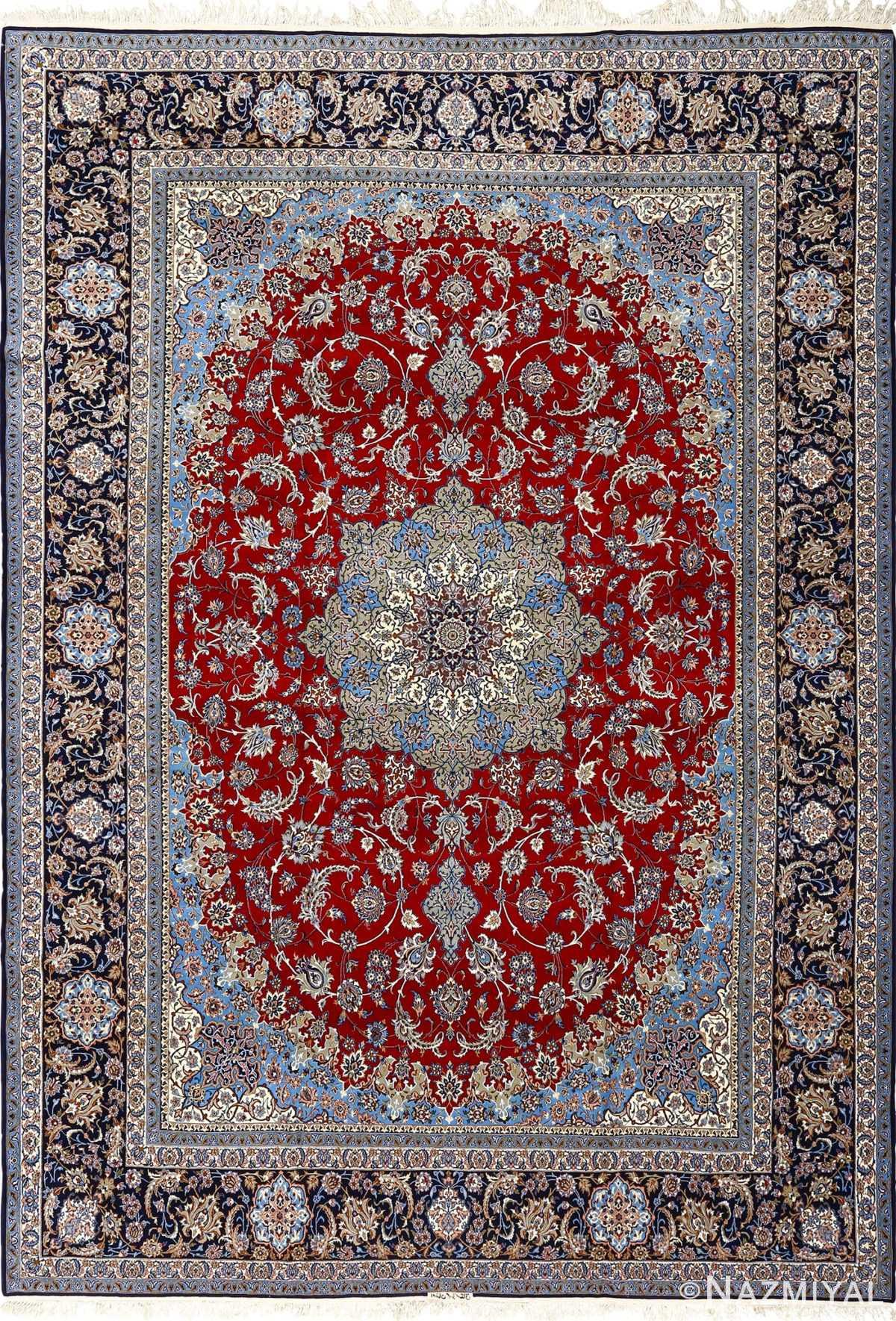 vintage red background isfahan persian rug 51090 Nazmiyal