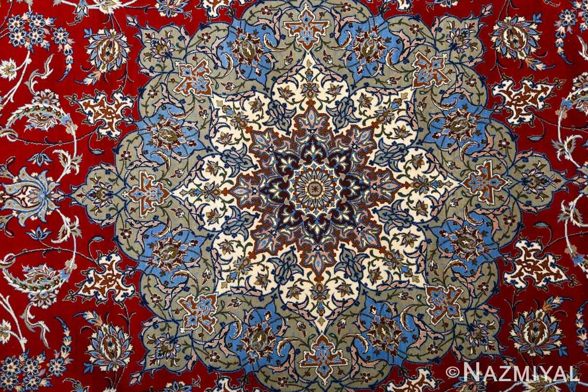 vintage red background isfahan persian rug 51090 medallion Nazmiyal