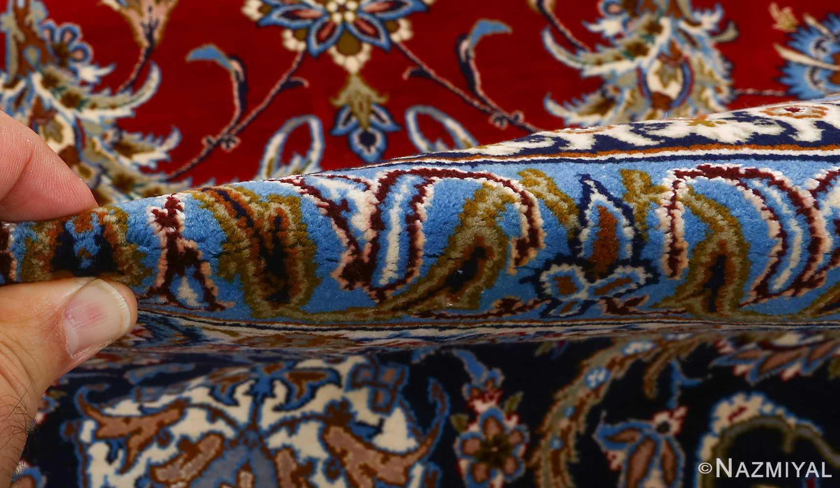 vintage red background isfahan persian rug 51090 pile Nazmiyal