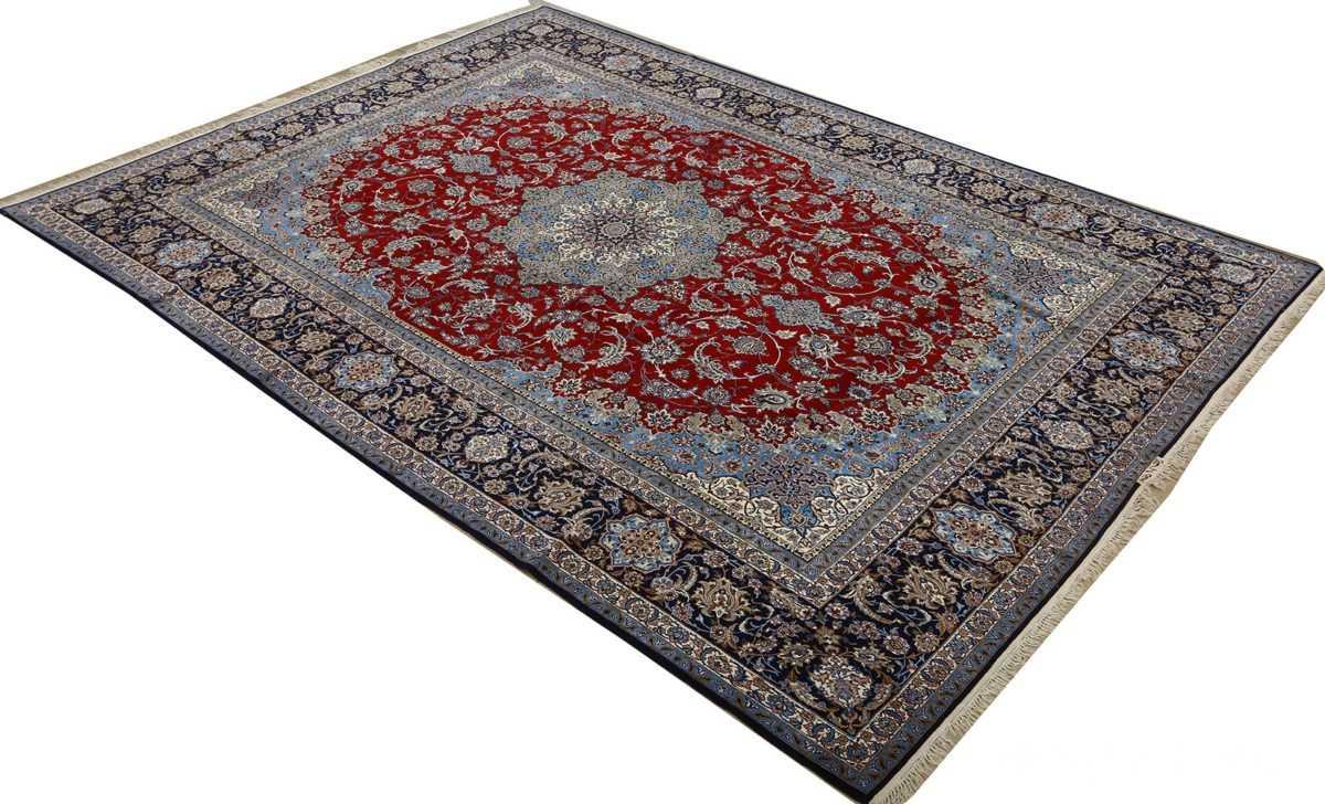 vintage red background isfahan persian rug 51090 side Nazmiyal