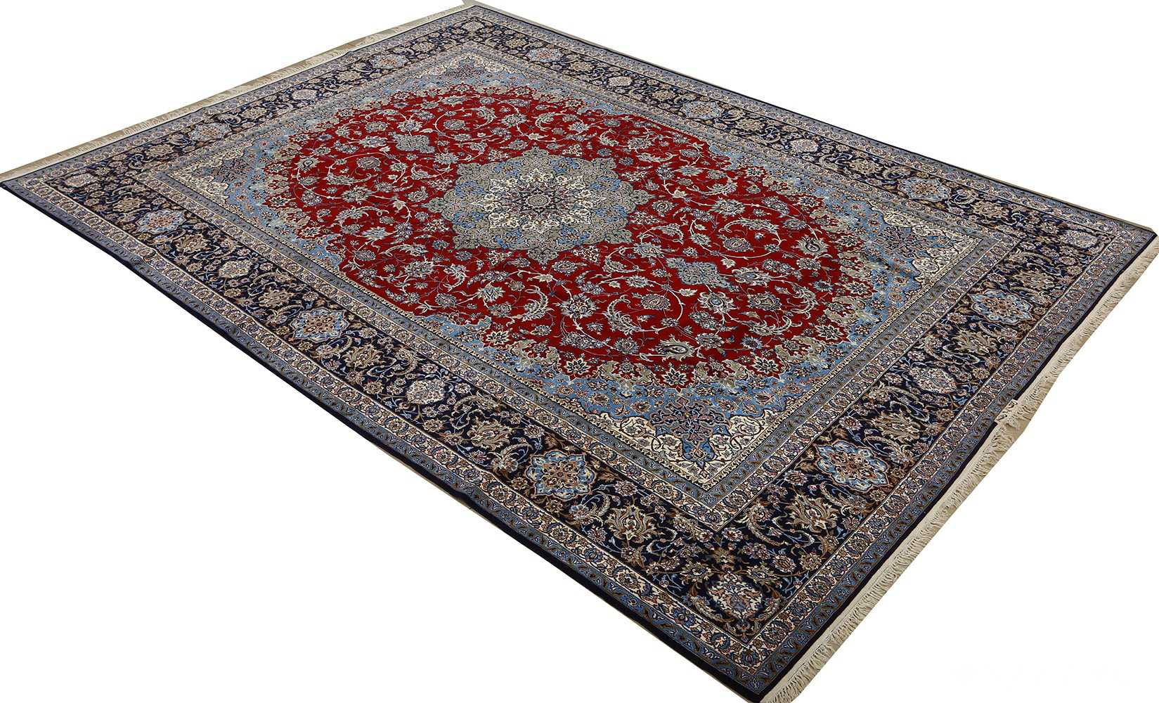 vintage red background isfahan persian rug 51090 side Nazmiyal