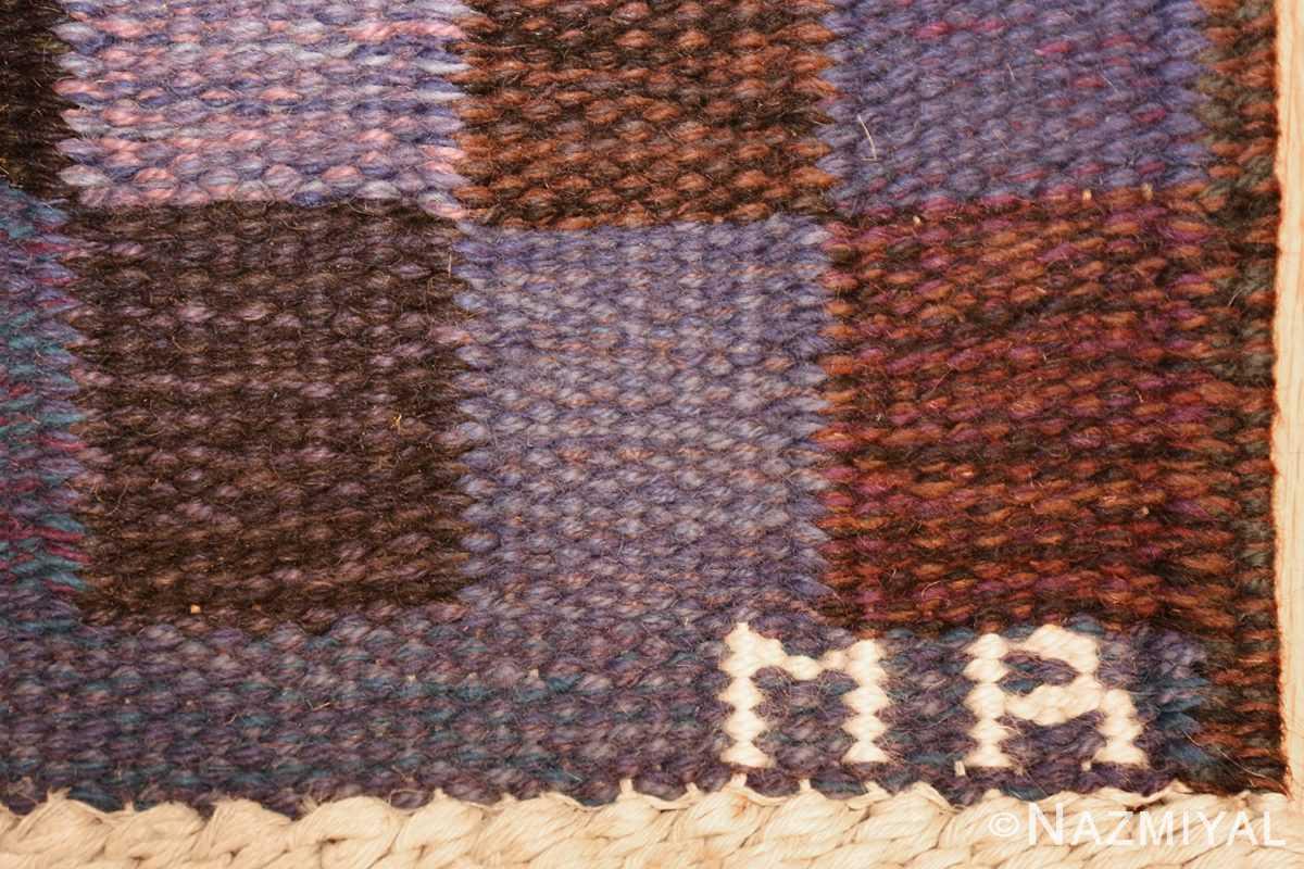 vintage scandinavian swedish kilim by marta maas 49269 initials Nazmiyal