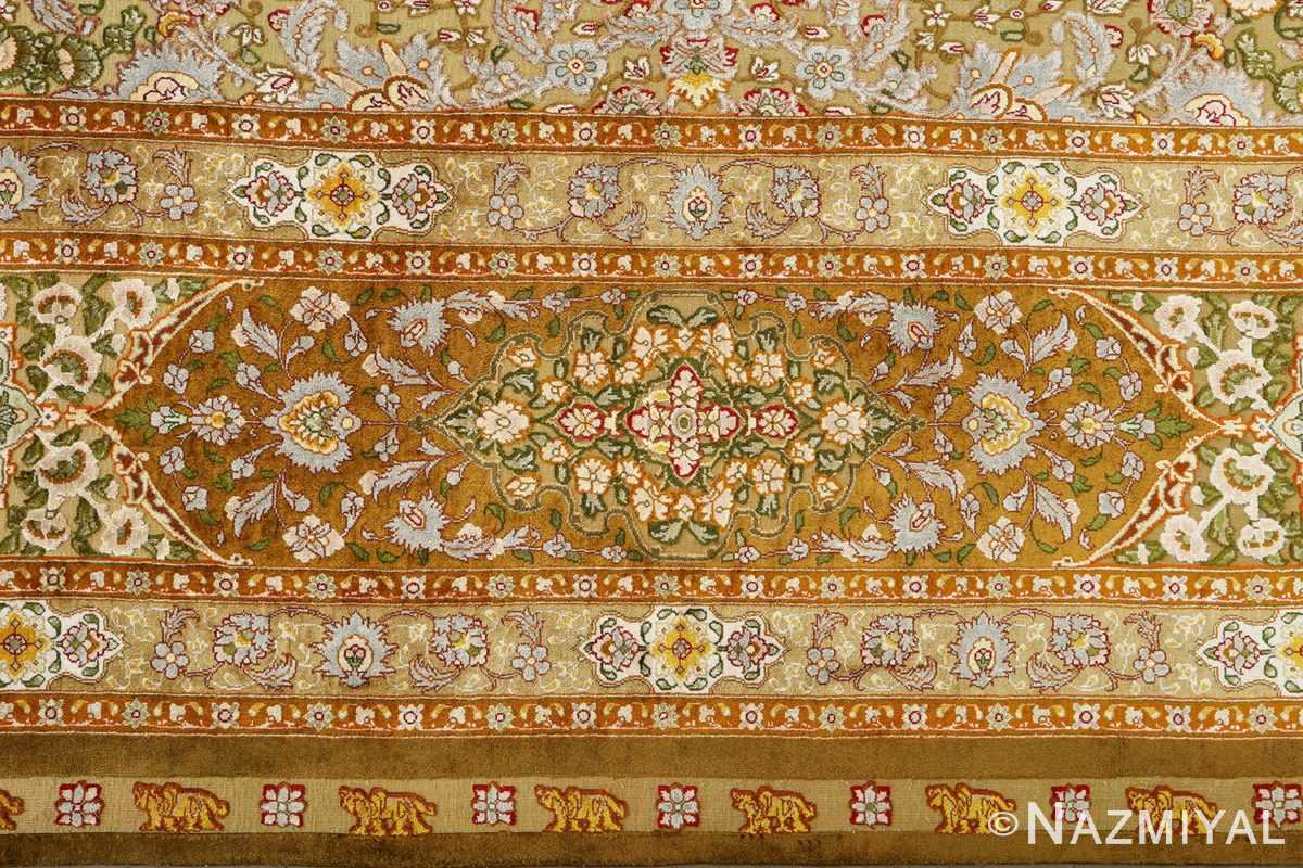 vintage silk and metallic threading souf tabriz persian rug 51112 border Nazmiyal