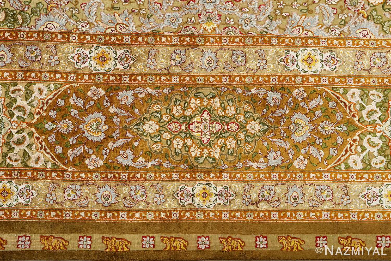 vintage silk and metallic threading souf tabriz persian rug 51112 border Nazmiyal