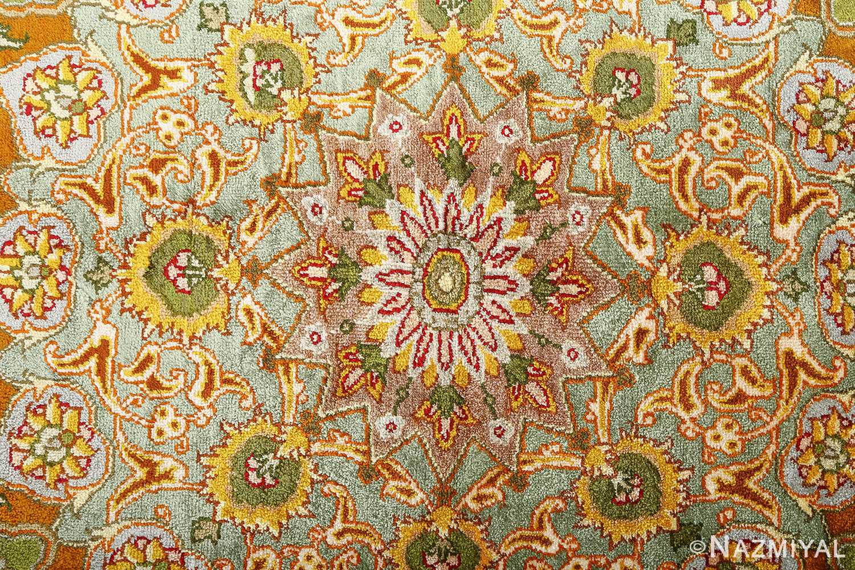 vintage silk and metallic threading souf tabriz persian rug 51112 center Nazmiyal