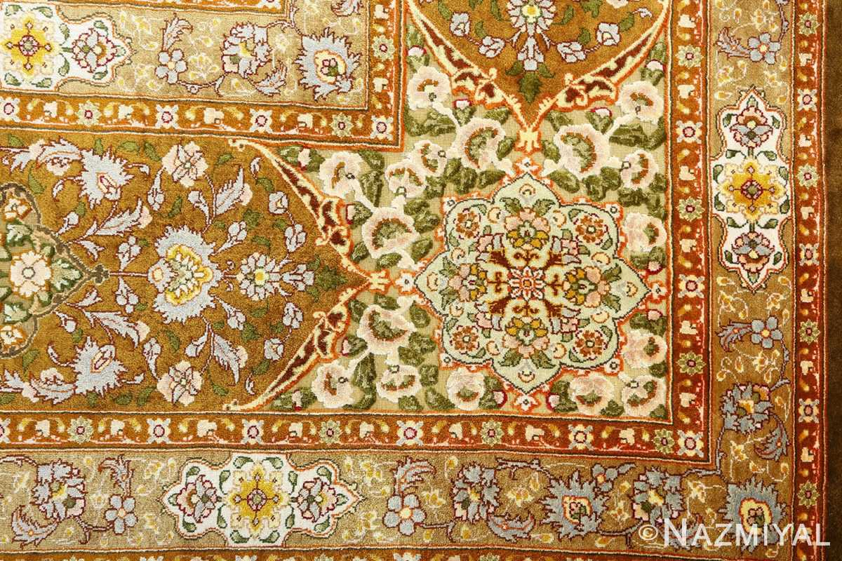 vintage silk and metallic threading souf tabriz persian rug 51112 corner Nazmiyal