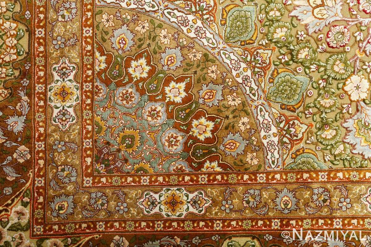 vintage silk and metallic threading souf tabriz persian rug 51112 dark Nazmiyal