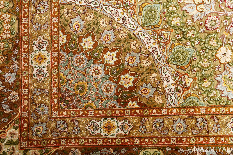 vintage silk and metallic threading souf tabriz persian rug 51112 dark Nazmiyal