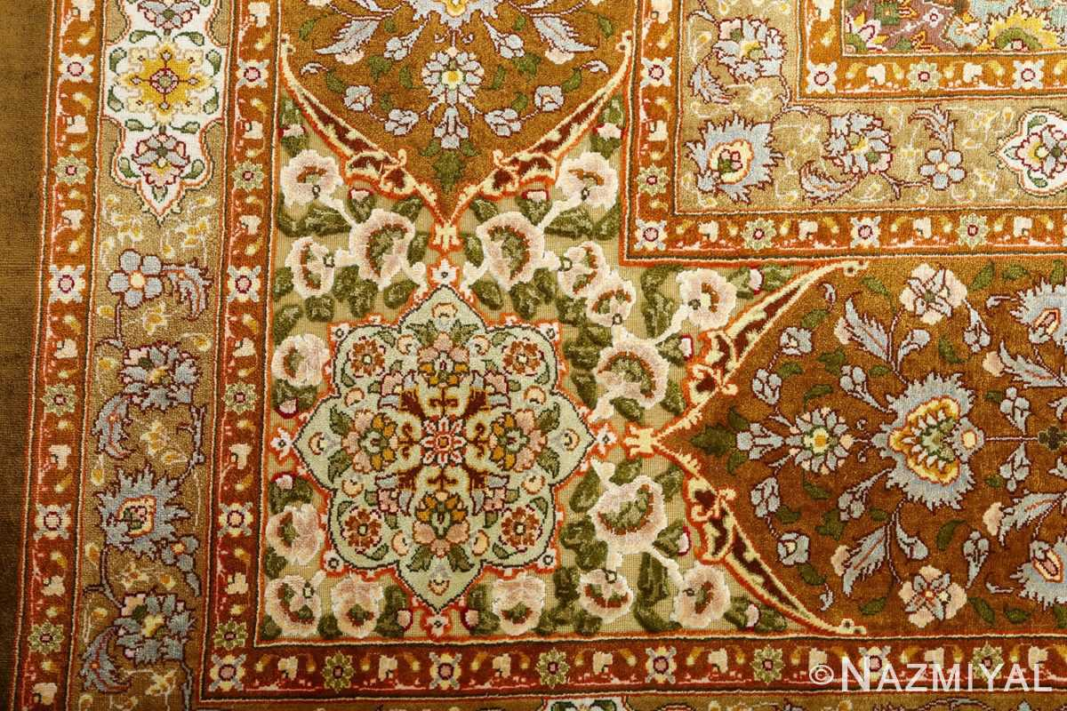 vintage silk and metallic threading souf tabriz persian rug 51112 design Nazmiyal