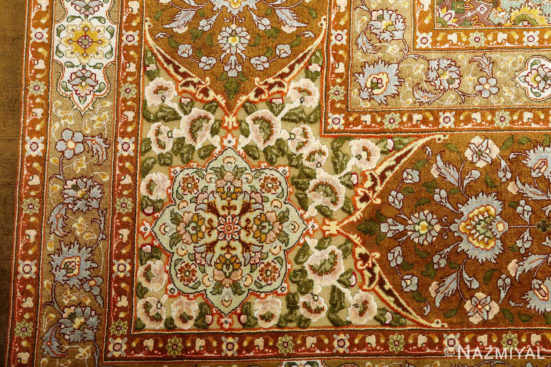 vintage silk and metallic threading souf tabriz persian rug 51112 design Nazmiyal