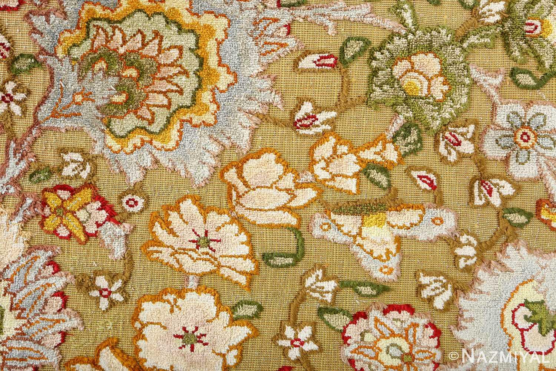 vintage silk and metallic threading souf tabriz persian rug 51112 field Nazmiyal