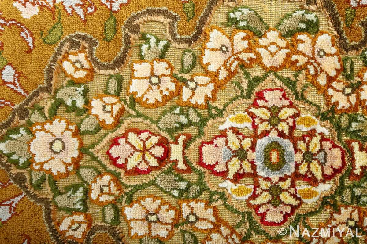 vintage silk and metallic threading souf tabriz persian rug 51112 flowers Nazmiyal
