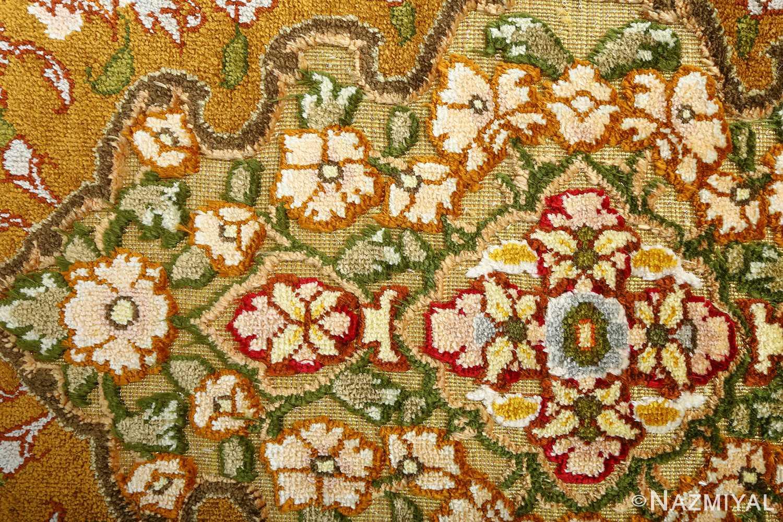 vintage silk and metallic threading souf tabriz persian rug 51112 flowers Nazmiyal