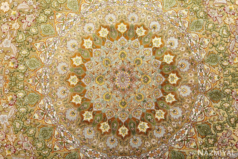 vintage silk and metallic threading souf tabriz persian rug 51112 medallion Nazmiyal