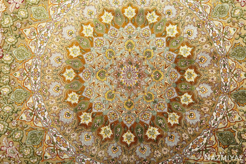 vintage silk and metallic threading souf tabriz persian rug 51112 middle Nazmiyal