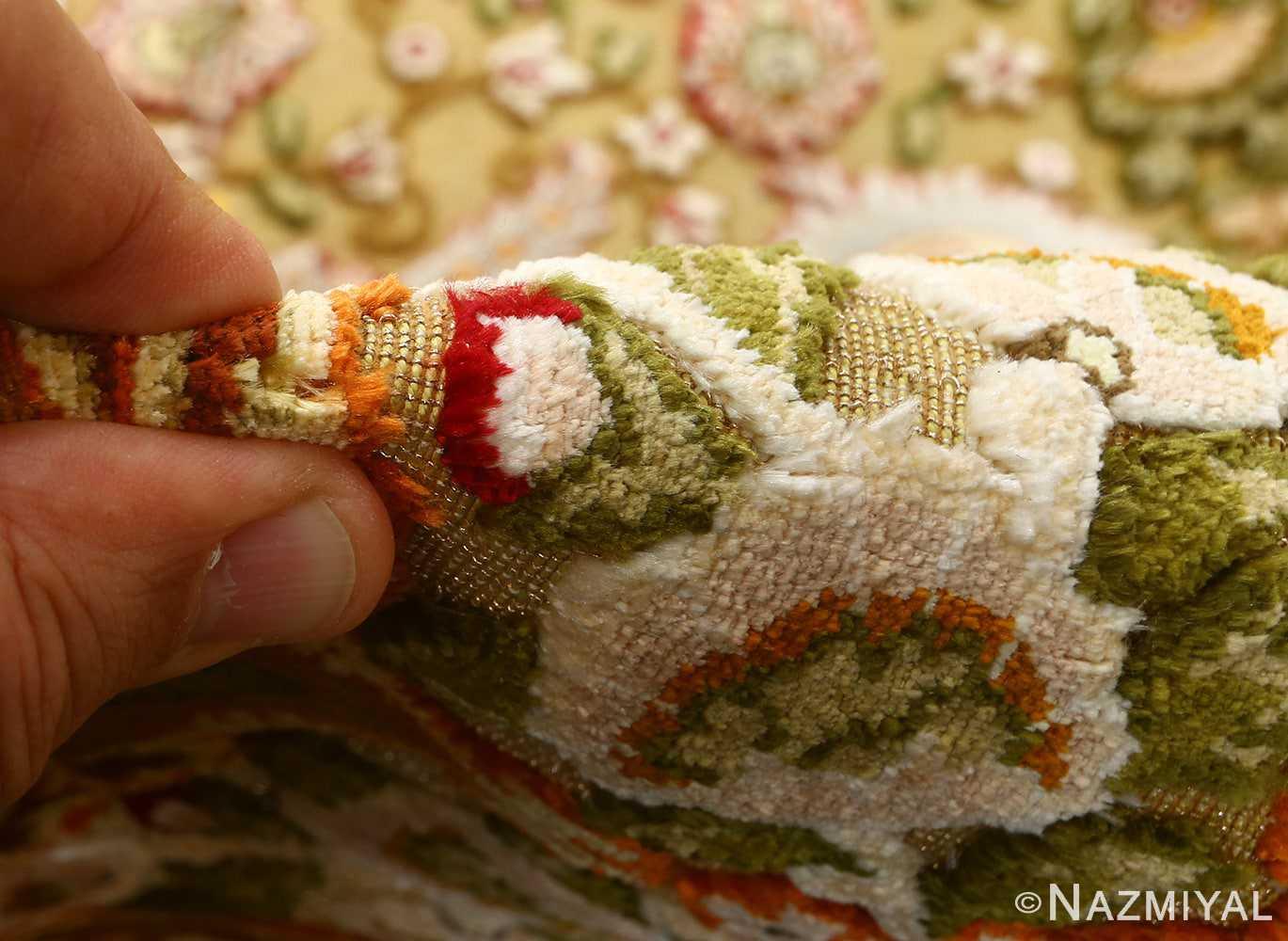 vintage silk and metallic threading souf tabriz persian rug 51112 pile Nazmiyal