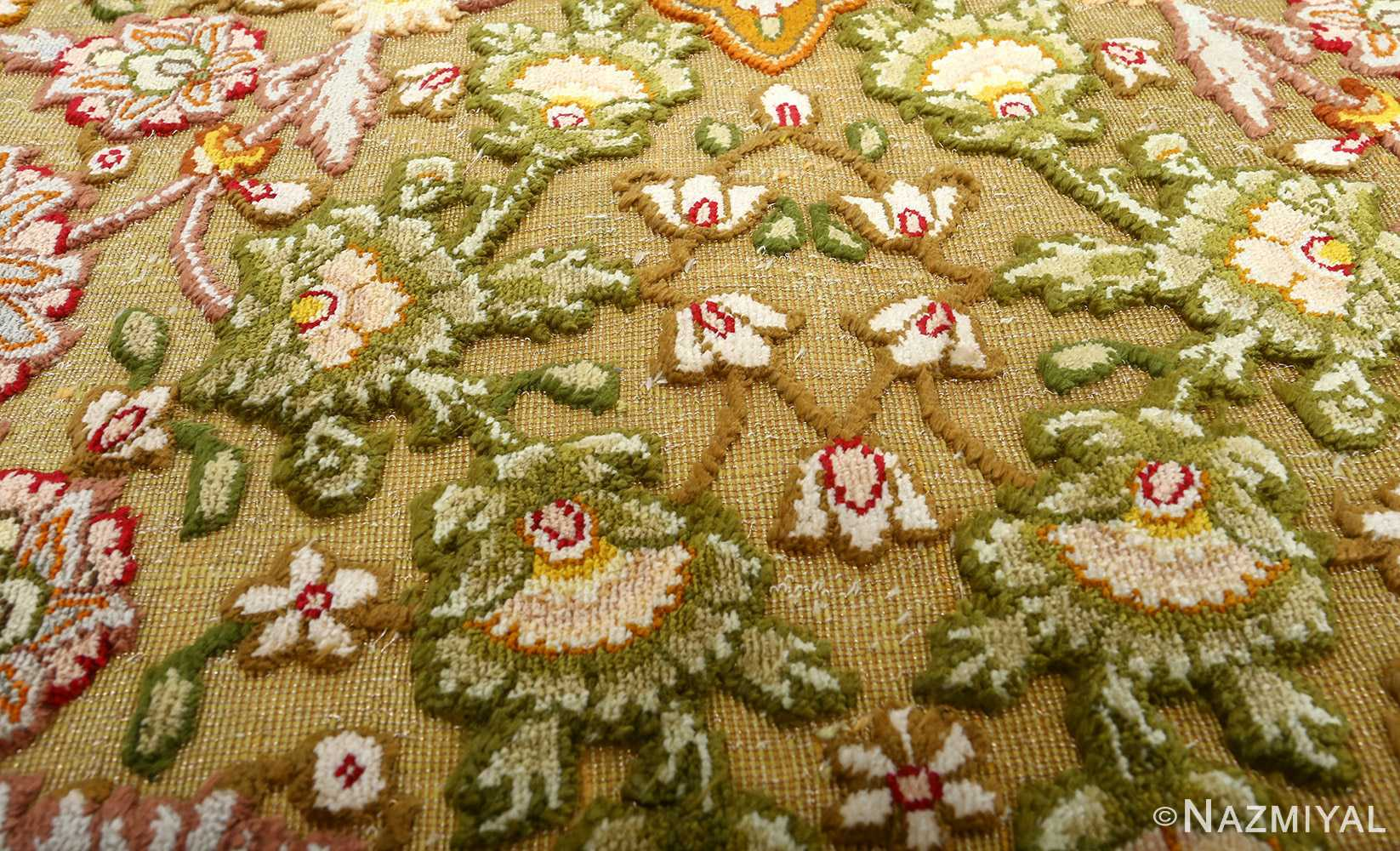 silk and gold threading round vintage tabriz persian rug 51130 raised Nazmiyal