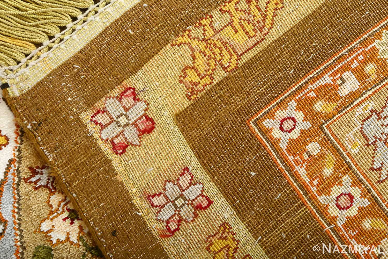 vintage silk and metallic threading souf tabriz persian rug 51112 weave Nazmiyal