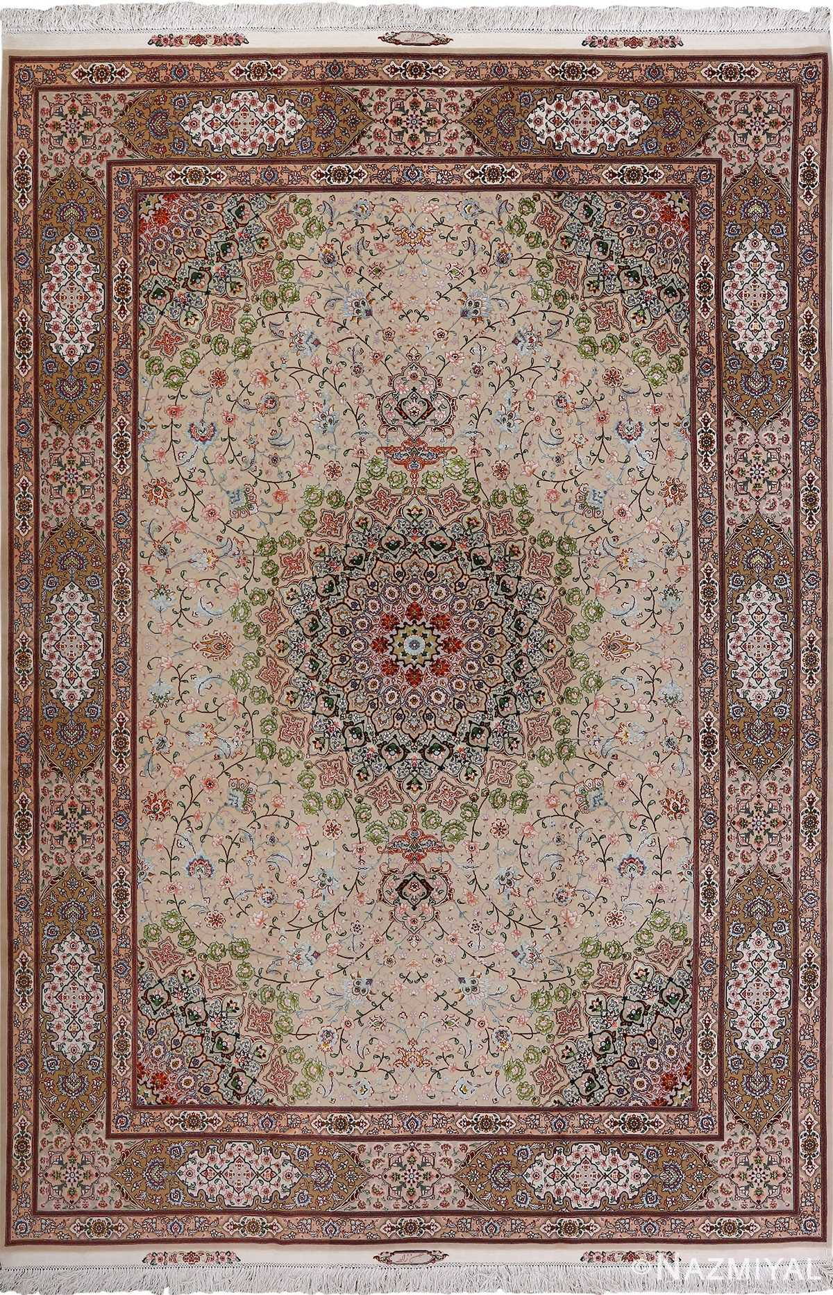 vintage taupe background tabriz persian rug 51108 Nazmiyal