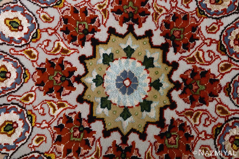 vintage taupe background tabriz persian rug 51108 center Nazmiyal