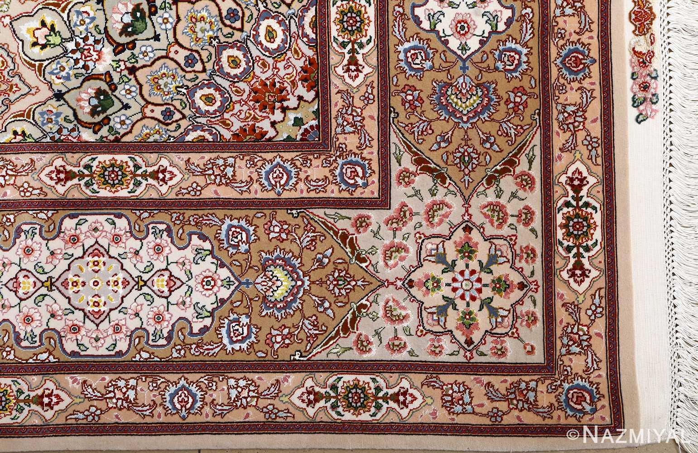 vintage taupe background tabriz persian rug 51108 corner Nazmiyal