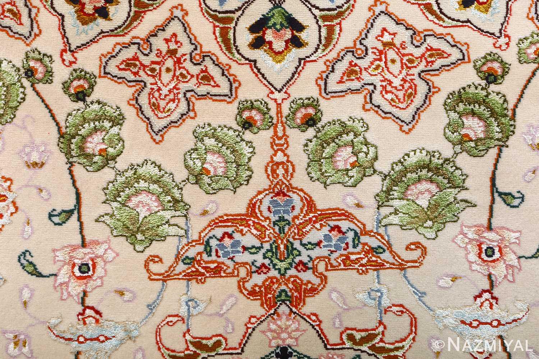 vintage taupe background tabriz persian rug 51108 green Nazmiyal