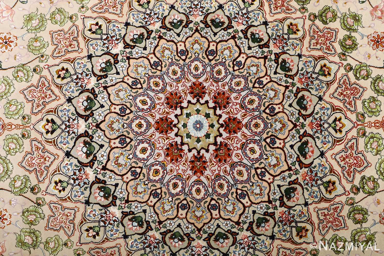 vintage taupe background tabriz persian rug 51108 medallion Nazmiyal