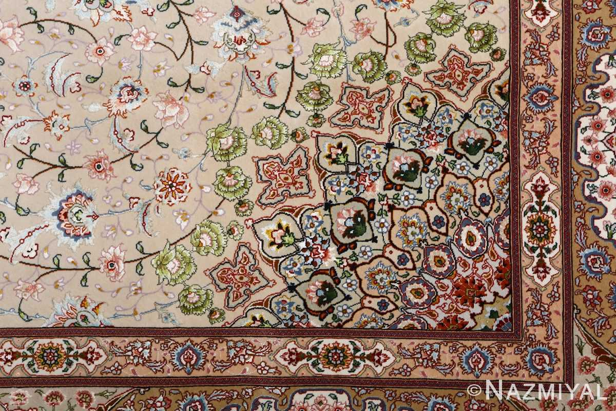vintage taupe background tabriz persian rug 51108 pattern Nazmiyal