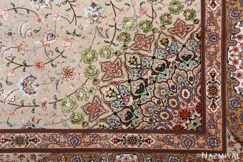 vintage taupe background tabriz persian rug 51108 pattern Nazmiyal