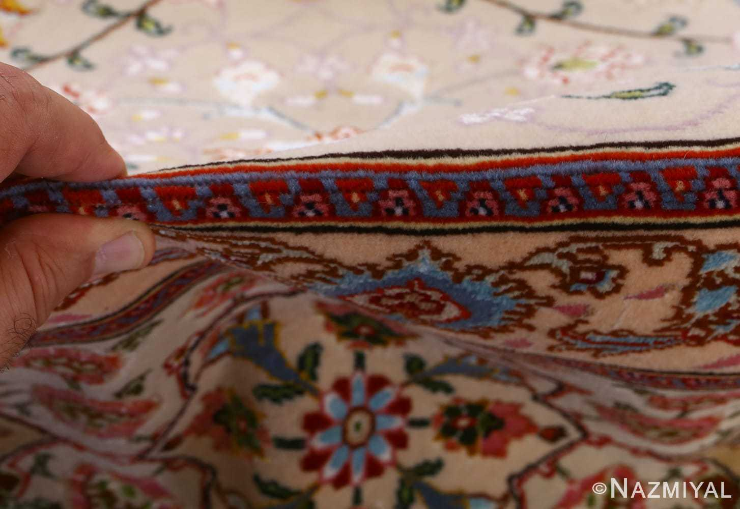 vintage taupe background tabriz persian rug 51108 pile Nazmiyal