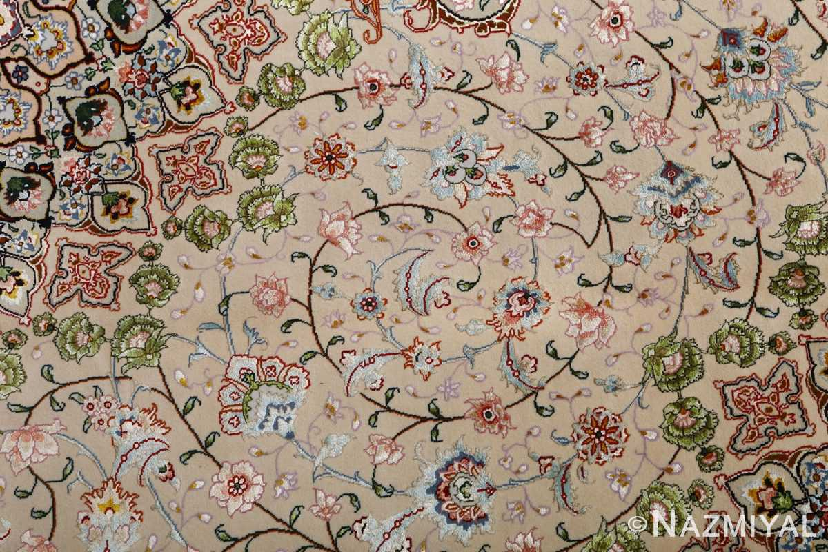 vintage taupe background tabriz persian rug 51108 scrolls Nazmiyal