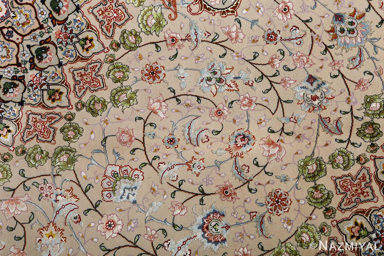 vintage taupe background tabriz persian rug 51108 scrolls Nazmiyal