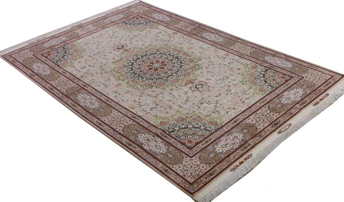 vintage taupe background tabriz persian rug 51108 side Nazmiyal
