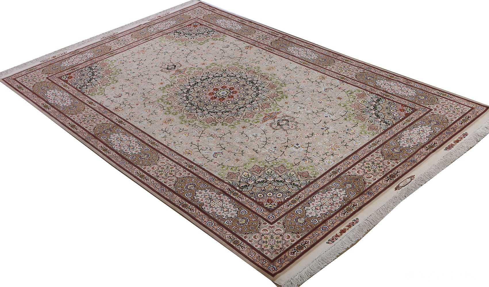 vintage taupe background tabriz persian rug 51108 side Nazmiyal