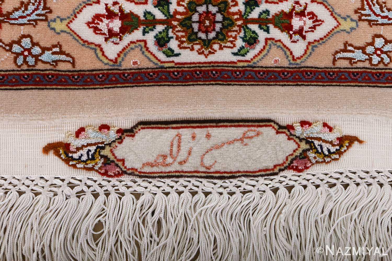 vintage taupe background tabriz persian rug 51108 signature Nazmiyal