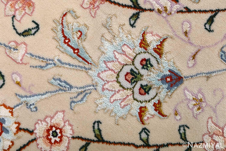 vintage taupe background tabriz persian rug 51108 silk Nazmiyal