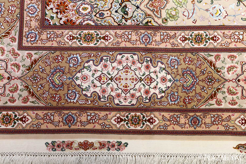 vintage taupe background tabriz persian rug 51108 white Nazmiyal
