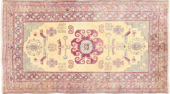 Yellow Silk Khotan Rug, Nazmiyal