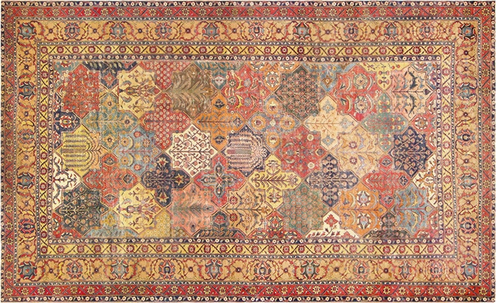 17th Century Persian Khorassan Rug with Vegetable Dyes by Nazmiyal