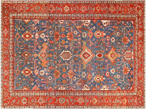 Antique Geometric Serapi Carpet by Nazmiyal
