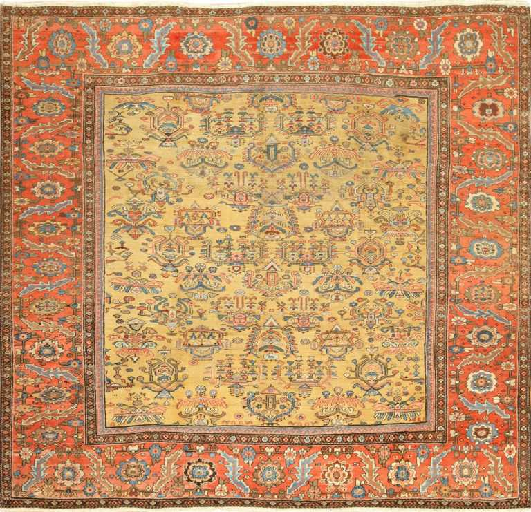 gold background antique sultanabad persian rug 49338 Nazmiyal