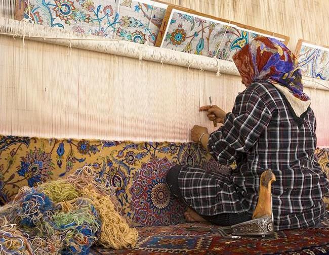 Iranian Woman Weaving Persian Rugs by Nazmiyal